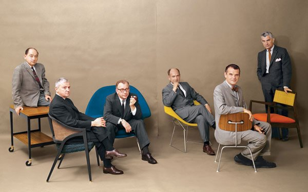 Love those guys….genius!!!! J'aime ces mecs…des génies!!! George Nelson, Edward Wormley, Eero Saarinen, Harry Bertoia, Charles Eames and Jens Risom-Playboy Magazine, July 1961